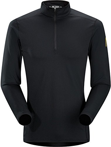 Arcteryx Mens Phase AR Zip Neck LS - Black - M