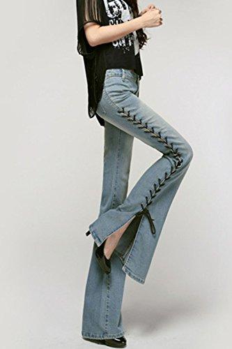 Skinny LightBlue Bandage Pantalons Un Fente Les Jeans Pantalon Femmes lastique Des pw5z1