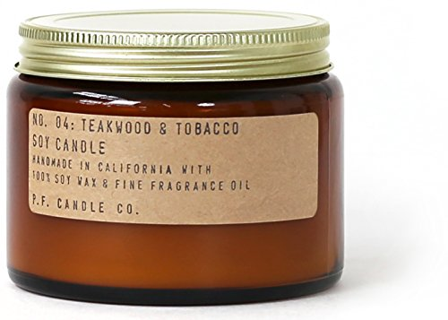 Double Candle (P.F. Candle Co. - No. 04: Teakwood & Tobacco Soy Candle (Double Wick (14 oz)))