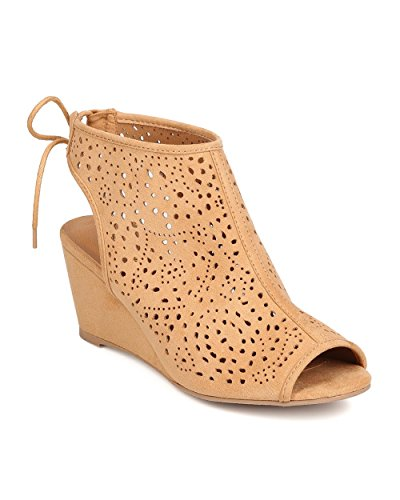 Qupid FC25 Women Faux Suede Peep Toe Perforated Single Sole Wedge Back Tie Bootie - Toffee