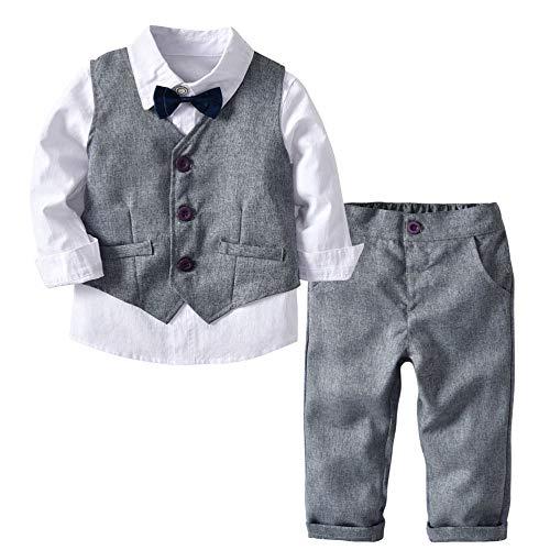 KAIDILA Camisa de Manga Larga para niño Pantalones de Chaleco Gris ...