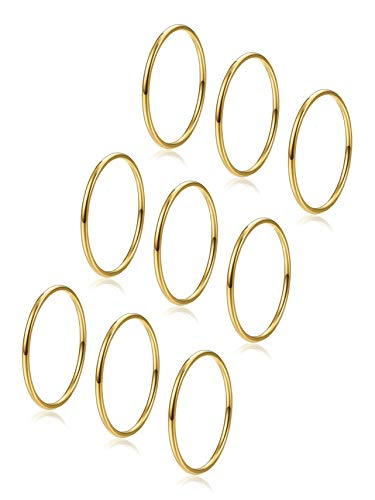 9pcs Stainless Steel Thin Knuckle Rings for Women Girls Finger Stacking Midi Rings Set Gold 8
