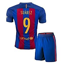 FC BARCELONA MESSI #10 FOOTBALL SOCCER KIDS/YOUTH HOME JERSEY (M size (for age 8-10), #9 Suarez)