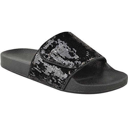 Fashion Thirsty New Womens Diamante Slides Flat Summer Slip On Sandals Bling Flip Flops Size UK Black Sequin / Silver Sequin