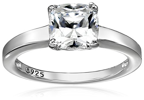 Platinum-Plated Silver Cushion-Cut Solitaire Ring made with Swarovski Zirconia, Size 5