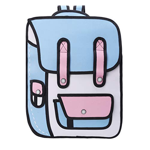 ForHe 3D Jump Style 2D Drawing From Cartoon Paper Backpack School Comic Bookbag Waterproof Travel Daypack,Nylon,Light Blue