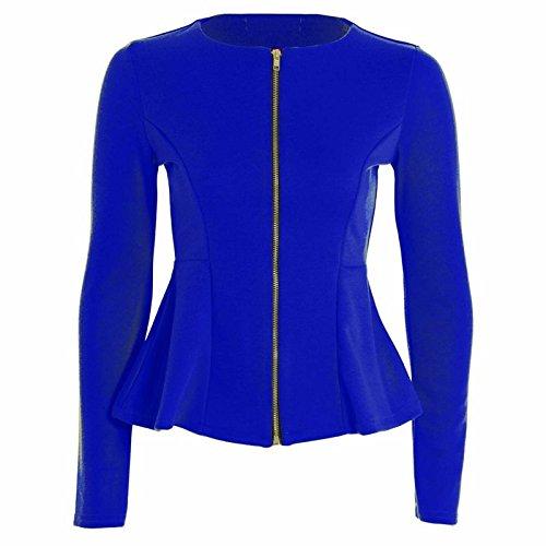54 EU Long Femmes Sleeve Peplum Haut 36 Blazer Veste Up Zip Blue Blazer Islander Royal Tailored Ruffle Mesdames Fashions FwpC6zqa