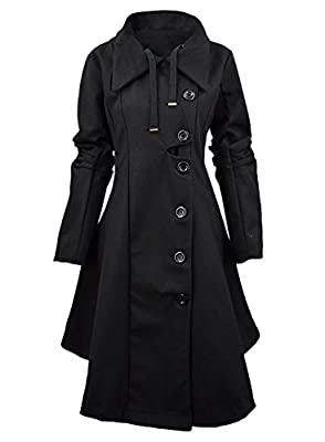 Azbro Women Winter Outdoor Wool Blended Classic Pea Coat Jacket