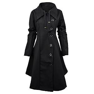 Azbro Women Winter Outdoor Wool Blended Classic Pea Coat Jacket, Black M