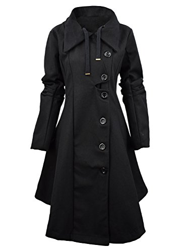 Azbro Women's Button Closure Asymmetrical Hem Black Cloak Coat, Black XXL