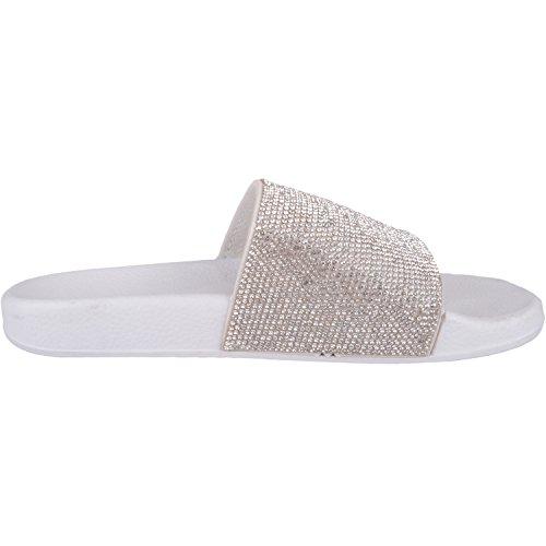 Sandaler Glidere Stil Sko Womens Hvit Tøfler Diamonte Flip Muldyr Flops w4HIXqS