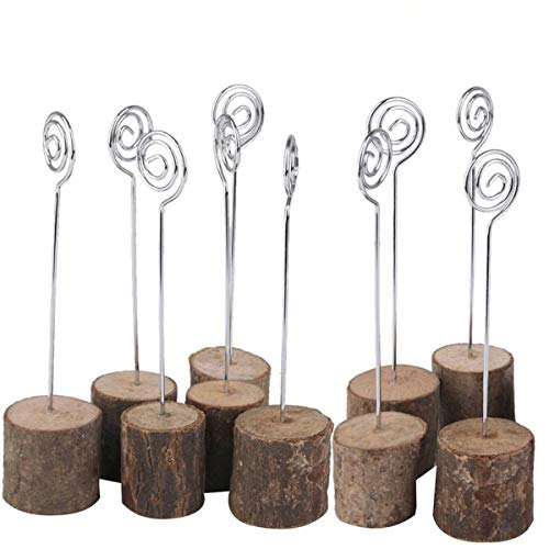 (K.MAX Wooden Base Place Card Holders, Rustic Iron Wire Picture Picks Clip Holder Stand, Ideal for Party Name Number Photo, Wedding Table Home Decorations)