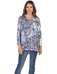 Jess & Jane Womens Burnout Knit High Low Tunic Top