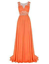Tideclothes Long Lace Bridesmaid Dress Beading Prom Evening Dress