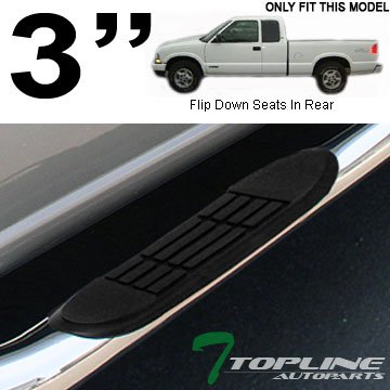 """Topline Autopart 3"""" Chrome Side Step Nerf Bars Running Boards 82-03 Chevy S10 Sonoma Extended Cab"""