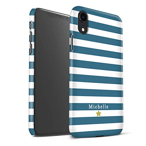 - Personalized Custom Stripes/Striped Matte Case for Apple iPhone XR/Teal Stripe Heart Design/Initial/Name/Text DIY Snap-On Cover