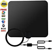 50 Miles Range TV Antenna, Indoor HDTV Antenna for Digital TV with Detachable Amplifier Signal Booster,2018 USB Powered Supply Antenna and 14Ft Coax Cable for 4K 1080P- Black