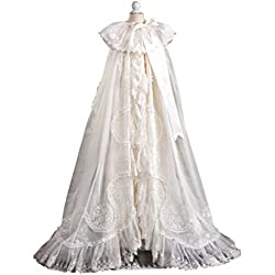 Newdeve Infant Toddler Babies White Lace Christening Gowns Long (9-12 months, White)