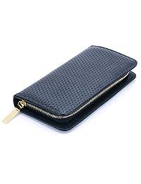 U-TIMES Women's Multi Purpose PU Leather Long Smart Cell Phone Wallet Pouch Cash Cards Purse(Black)