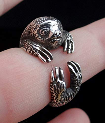 - Sterling Silver Sloth Ring, Sloth Gifts, Sloth Jewelry, Silver Ring Sloth, Animal Wrap Ring, Best Gift For Her, Silver Cute Ring, Unique Jewelry, Animal Jewelry