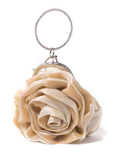 ILISHOP Women's Satin Rosette Bridal Bridesmaid Clutch Flower Wristlet Wedding Handbag Rhinestone Ring Handle Evening Bag (Beige)