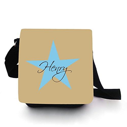 Gufo Custodia Borsa per bambini Borsa a mano con stella e nome a scelta beige azzurro kt92