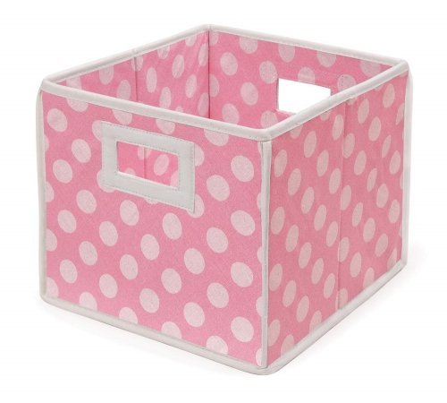Folding Basket/storage Cube - Pink Polka DOT