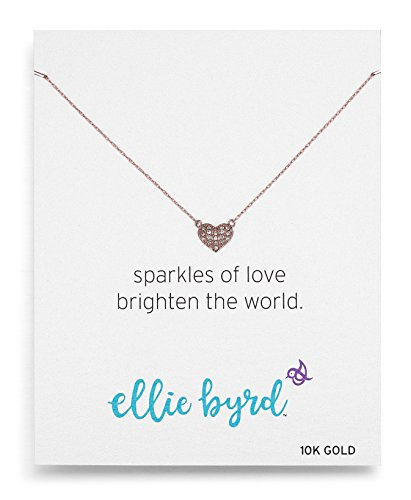 ellie byrd 10k Rose Gold Heart Necklace Made with Swarovski Crystal (17