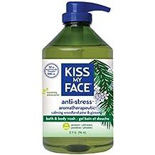 Kiss My Face Anti-stress Bath and Shower Gel, Moisturizing Body Wash, Value Size 32 oz