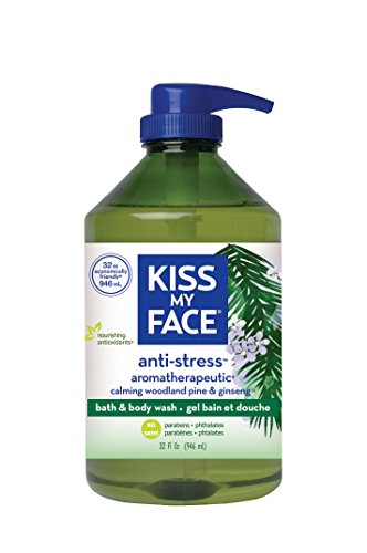 Total Wash Face - Kiss My Face Anti-stress Bath and Shower Gel, Moisturizing Body Wash, Value Size 32 oz