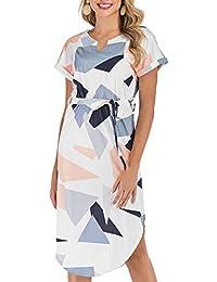 Womens Summer Midi Dress Short Sleeve V-Neck Belted Dress Geometric Pattern