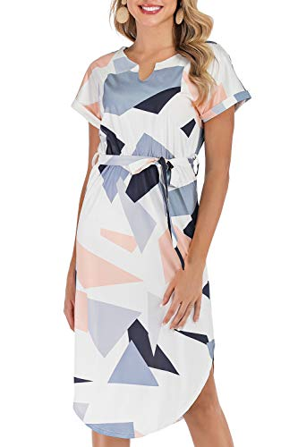 Poptem Womens Summer Casual V-Neck Geometric Pattern Belted Midi Pencil Dresses White Small