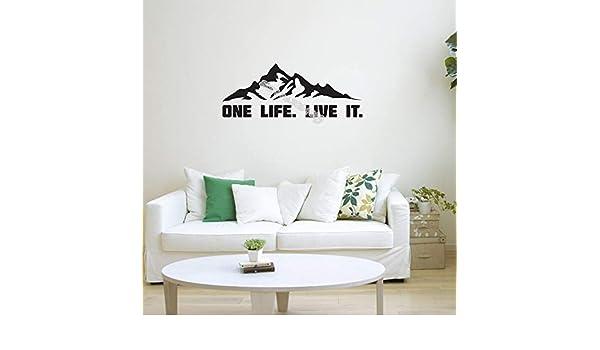 Ajcwhml One Life Live It Quote Vinilo de montaña Etiqueta de Pared ...