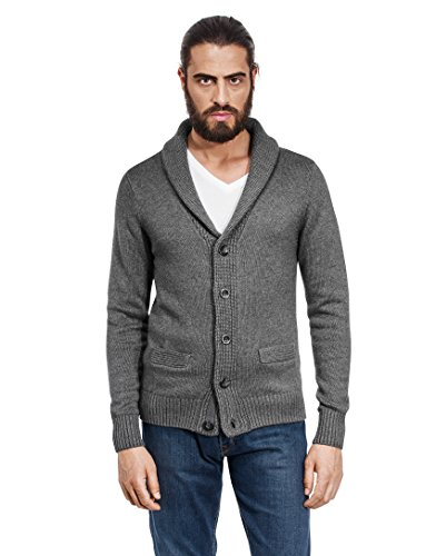 Vincenzo Boretti Men's Cardigan, chunky knit, with shawl collar, ,darkgrey,Large