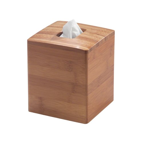 InterDesign Formbu Bath Collection, Facial Tissue Box Holder – Decorative Box Cover for Bathroom, Bedroom or Office, Bamboo (Wooden Box Tissue Cover)