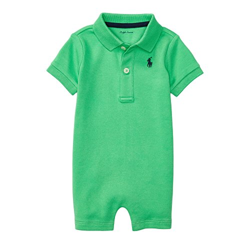 Ralph Lauren Baby Boys Cotton Interlock Polo Shortall (3 Months, Cycle Green)