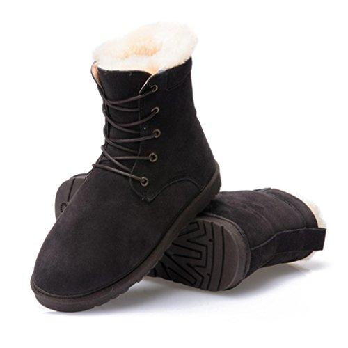 Bottes et boots Martin Bottes Hiver Neige Bottes Courtes Femelle Coton Chaussures Étudiant Épaississement Raquettes à neige ( Couleur : Maroon , taille : 37 ) Chocolat Couleur
