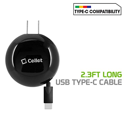 Cellet TCUSBC30R Type-C Powerful Fast Charging Wall Charger Compact Retractable (3A/15W) Compatible for LG Q7+, Stylo 4, Q Stylus V35 ThingQ, V30, G6, G5, Nexus 5X, Q7+, V20 and More