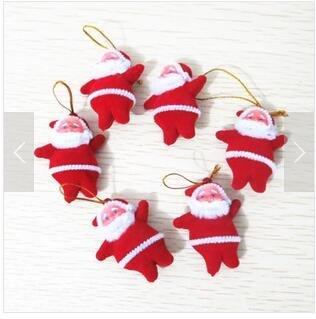 Domire Christmas Tree Decoration Santa Claus Doll -1 Set(6Pcs) Red