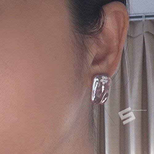 Contemporary Pearl Jewelry Real Pearl And Shell Flower Studs Biwa Pearl In Sterling Silver Earrings Freshwater Pearl In Silver Earrings
