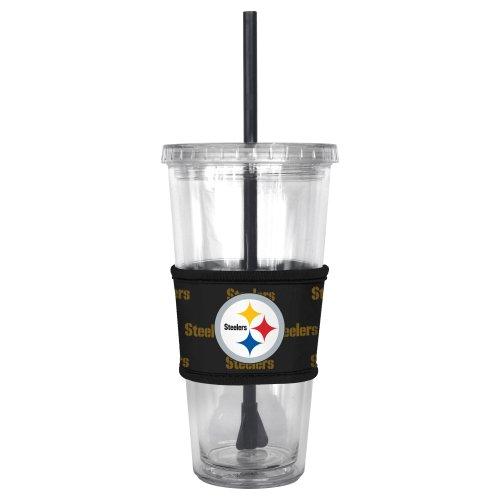 NFL Pittsburgh Steelers Tumbler with Neoprene Sleeve and Straw, (Nfl Pittsburgh Steelers Coffee Mug)