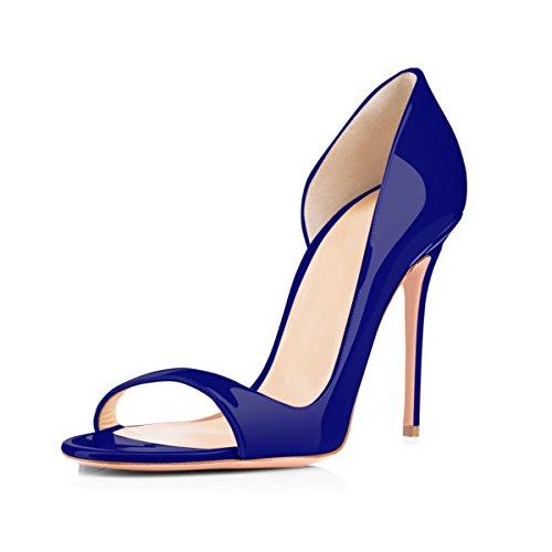 Toe Summer Peep Blue Fashion Spring Sandals Pu High Heel Onlymaker Women`s a6pwxqaf