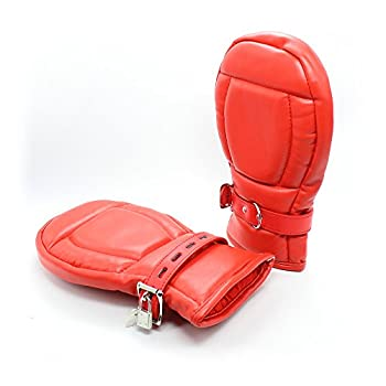Sex Toy Lockable Padded Bondage Mitts Red