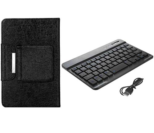 Tablet 7 Folio (Universal 7 inch Tablet Keyboard Case, 【DETUOSI】 Wireless Bluetooth Removable Keyboard + Folio PU Leather Cover + Stand, Travel Portable Leather Sleeve for iOS/Android/Windows 7.0'' Tablet,(Black))