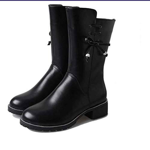 KPHY Martin Warm In England Winter Head Women Thick Shoes Cotton Slip The Round With And And Black Non Versatile Boots Boots qrwT51rf