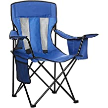 AmazonBasics Camping Chair with Cooler, Blue (Mesh) (Renewed)
