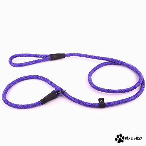 Max and Neo Rope Slip Lead Reflective 5 Foot - We Donate a Leash to a Dog Rescue for Every Leash Sold (Purple, 5FT X 1/2