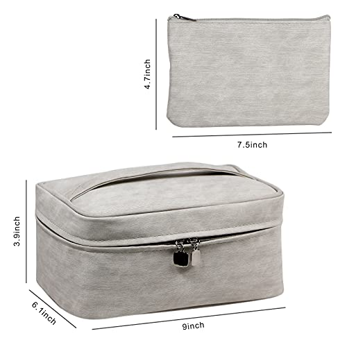HIJJMAXX Travel Makeup Bag Cosmetic Case Organizer with Brush Holder Pouch and Portable Storage Bag for Purse, Large Toiletry Make Up Bag for Women and Girls (Grey)