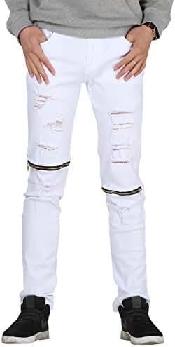 Vogstyle Men's Slim Fit Destroyed Jeans Pencil pants Slim zipper Jeans With Holes