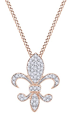 Round Cut White Natural Diamond Medium Fleur Di Lis Pendant In 14k Rose Gold (0.33 cttw)